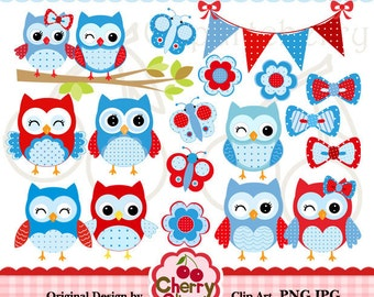 Owls and butterflies digital clip art set  for-Personal and Commercial Use-Card Design, Scrapbooking, and Web Design