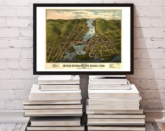 Panoramic Map Bird's Eye View of Mystic River & Mystic Bridge, Conn. 1879 - High Quality INSTANT DIGITAL DOWNLOAD