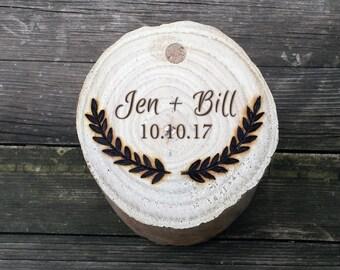 Custom rustic ring box for wedding, ring bearer box, birch ring box, teak wood ring box, custom engraved, large ring storage box