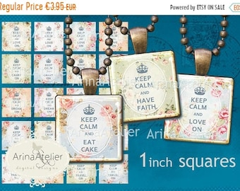 SALE - 40% OFF Keep Calm  Squares 1 inch digital squares - Digital Collage Sheet for 2,5 cm Earrings - Bottlecaps - Pendants - Magnets