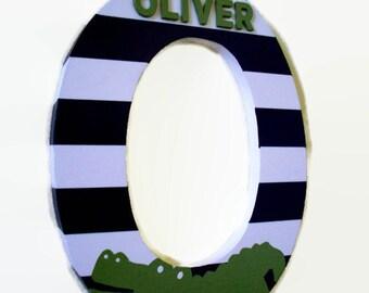 Alligator Nursery Letter - Navy Green Wood Letters - Alligators Wall Letter - Alligator Decor