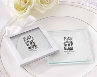 Personalized Coasters Wedding | Eat Drink Be Married | Custom Coasters | Wedding Coasters | Wedding Favors (27075ED)