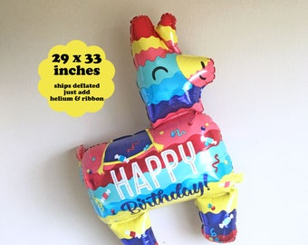 "Pinata Balloon Fiesta Birthday Decorations - 29"" - Fiesta Balloon Taco Party Balloon Taco Twosday Happy Birthday Balloon Pinata Donkey"
