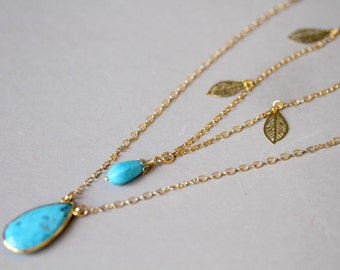Dainty Two Strand Turquoise Dangling Filigree Leaf Gold Toned Necklace