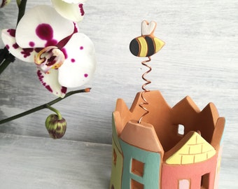 Terra Cotta lantern-house lamp-cottage favor box-decoration for children's room-gift for children-Home decor-