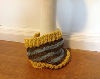 Super chunky striped cowl in 100% cotton yarn