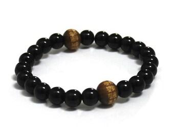 Men's Inspirational Jewelry, Chinese Words Buddhist Mantra Wood Bead Chakra Prayer Beads, Spiritual Gift, Obsidians Men Mala Beads Bracelet