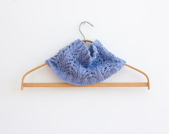 Knit Snood Neck Warmer, Purple Lace  Cowl Scarf, Infinity Scarf, Vegan Circle Scarf, Ready to Ship