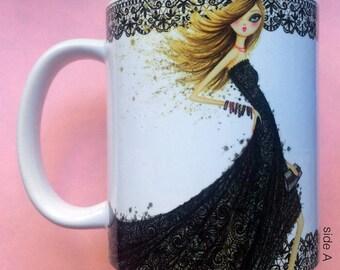 Lucy Loves Lace, Coffee Mug, Fashion illustration, Bella Pilar, Fashion mug