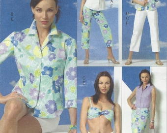Womens Shirt, Bandeau Bra Top, Skirt, Shorts & Pants Resort Wear OOP Vogue Sewing Pattern V8094 Size 12 14 16 Bust 34 36 38 FF 5 Easy Pieces