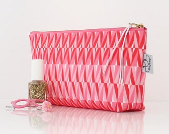 Cute makeup bag, Cosmetic bag, Zipper pouch, Pink pouch with zipper.