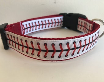 Red Baseball Stitches Large 1 inch Dog Collar on Red Nylon