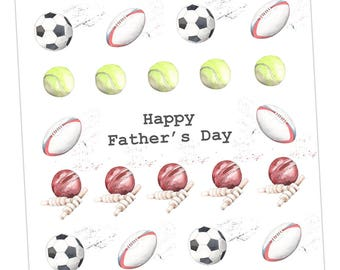 Multi Sport Fathers Day Embellished Card taken from an Original Watercolour