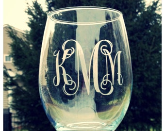 Etched Monogram Stemless Wine Glass