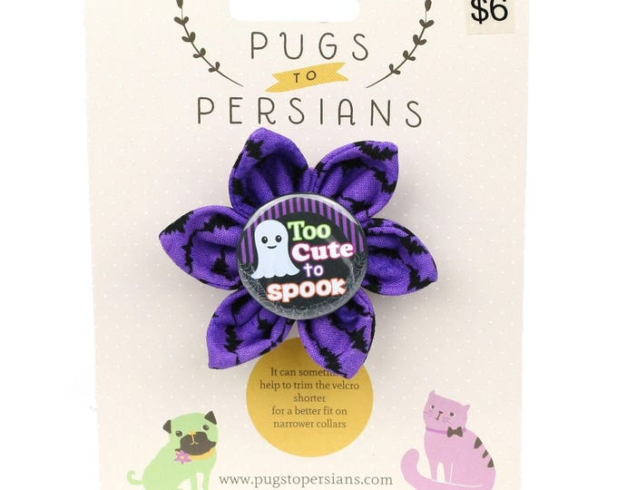 Halloween Dog Bow - Too Cute to Spook on Purple Bats - Flower - Collar Blossom - Small Size