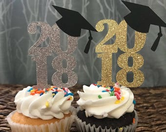 2018 Graduation cupcake toppers 6ct... Gold or silver... Any number any color!