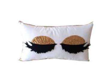 Gold Eyelashes Pillow, Decorative pillow cover, pillow case