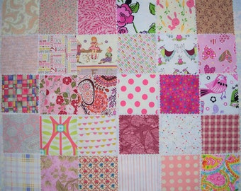 "30 - 5"" Charms, Pinks, All Different, Die Cut, 100% Cotton Quilting Fabric, Scrappy Quilt (#8)"