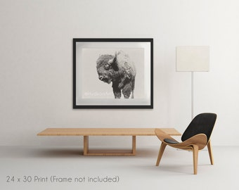 Large Bison Print Photo 24x30 inches Rustic Decor Fine Art Photography print Rustic Modern Decor Wall Art print Taxidermy Bison