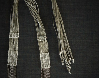 Grey woven necklace, Handwoven fiber necklace with chains, Linen necklace, Minimal, Fiber art jewelry