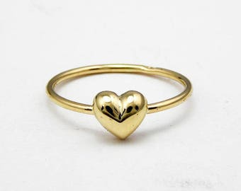 Heart gold ring-14k solid yellow gold-Stacking ring-Women jewelry-Women ring.