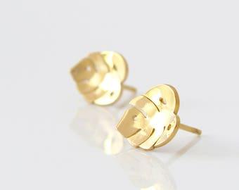 Monstera Earrings - Gold Stud Earrings - Monstera leaf Earrings - Leaf stud earrings - Sterling Silver Stud Earrings - Palm Leaf Earrings