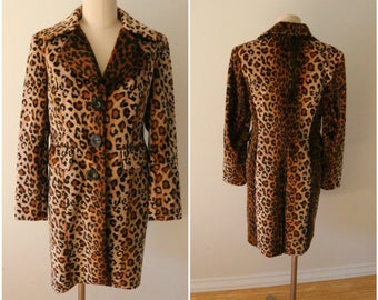 90's Vintage Faux Fur Leopard Print Coat - Size Small - Mid Length - Made in USA