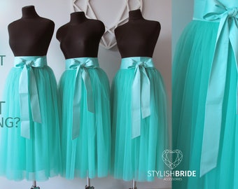 Bridesmaids #15 Mint Tulle Skirts Woman Tulle Skirt Long Floor Length, Mint Tulle Skirts with Silk bows for bridesmaids mint wedding