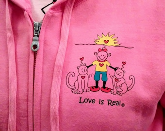 Hoodies-Gildan-Cat Lovers-Kitties-Love is Real-Pink-Ladies Hoodie-Gift for Her-Unique Gift-Gift Item-LoveisRealBelieve-2 Kitties-Soft Hoodie