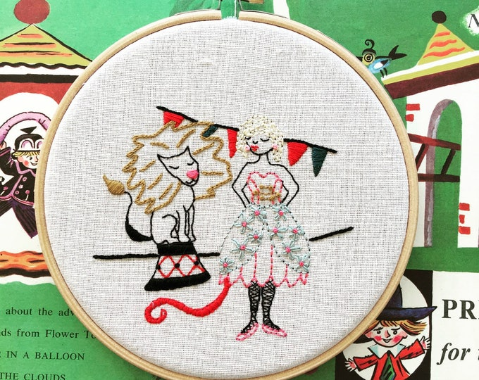hand embroidery pattern | modern embroidery | Luna the Lion Tamer - Instant Digital Download
