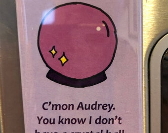 Twin Peaks Inspired Fridge Refrigerator Magnet - C'mon Audrey, You know I don't Have a Crystal Ball