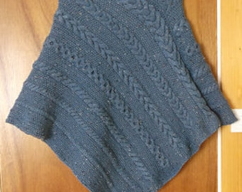 Cables and Moss Poncho Knitting Pattern