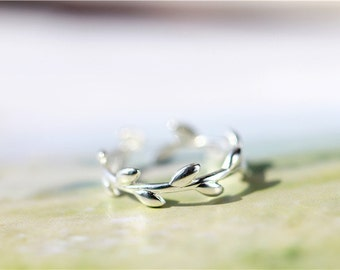 Gold plated olive leaf ring, adjustable ring, Stackable Ring, Minimalist ring, Simple ring, Ring for women, Mother's day gift