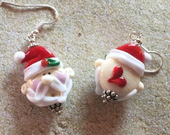 Holiday Santa Lampwork Earrings, Holiday Earrings, SRA Lampwork Earrings, Christmas Jewelry, Christmas Earrings, Gift Ideas