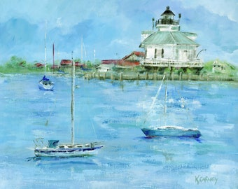 Sailing to Saint Michaels: Saint Michaels print from original acrylic painting of Saint Michaels & the Chesapeake Bay Maritime Museum
