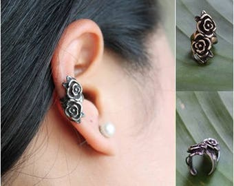 Sterling Silver 925 Roses Ear Cuff