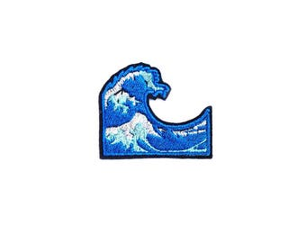 Wave Patch Iron On Embroidered Patches Applique Embroidery • Emoji Ocean Sea Blue Surf