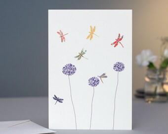 Dragonflies & Aliums Card