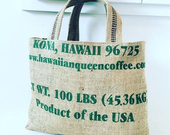 Hawaiian Queen Coffee Sack Tote / Pineapples / Market Bag/ Small Tote