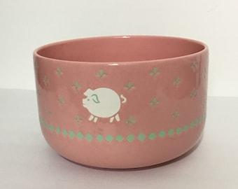 Waechtersbach Pink Pig Serving Or Mixing Bowl West German Pottery Pink White Green