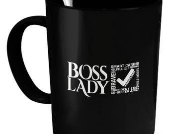 Boss Lady Mug, Boss Lady Gift, Gift for Boss Women, Boss Lady Coffee Mug, Black, Gift for Woman, Funny Coffee Mug