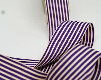 Striped Grosgrain Ribbon -- 1.5 inches -- Grape Cream Purple