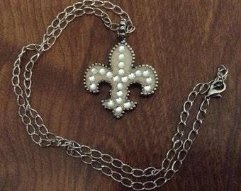 White Fleur de Lis Necklace