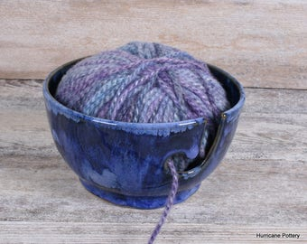Ceramic Yarn Bowl. Yarn Holder. Crochet Bowl. Knitting Bowl. Ceramic Pottery Yarn Keeper