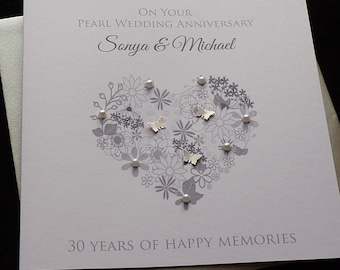 Pearl  /30th Wedding Anniversary personalised card