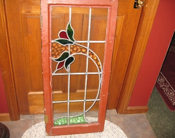 """ANTIQUE STAINED GLASS Window 37 1/2"""" x 16 1/2"""" Frame Wood 1 3/4"""" Thick Green One Side Rust Reverse Cabinet Door Transom Window"""