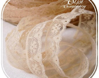 RIBBON TRIM LACE BEIGE FLESH FLOWERS SCRAPBOOKING SEWING