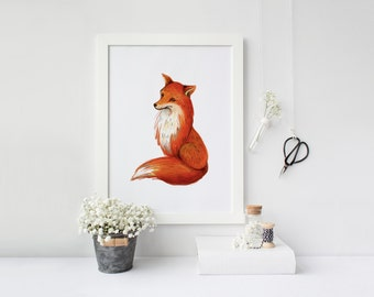 printable art Fox print, fox wall art, woodland nursery print, nursery fox decor, orange nursery decor, fox printable, watercolor fox