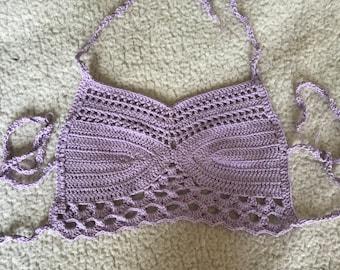 Crochet Bohemian Festival Crop / Halter Top Bralette