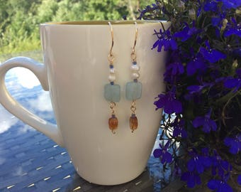 Aquamarine and citrine dangle earrings